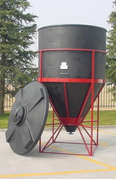 Cuve Reservoir Plastique Cylindrique à Fond Conique avec Couvercle Amovible - PE PEHD HDPE